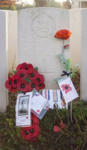 The grave with its poppy wreath photo