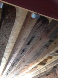 Old wooden beams alongside new.