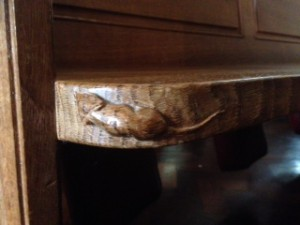 carved wooden mouse