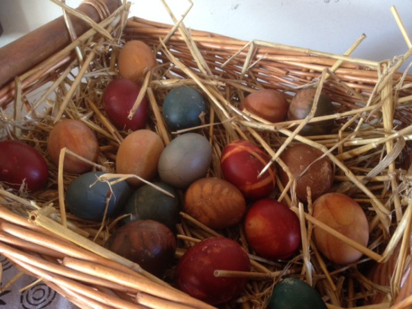 colourful eggs in a basket