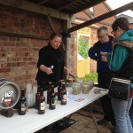 beer stall with bottles and cask