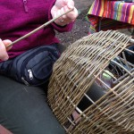 close up of basket weaving