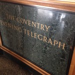 Polished stone lobby Coventry Evening Telegraph sign