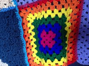 Rainbow crochet square