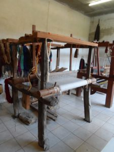 An old traditional floor standingwooden loom