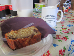 tea and slice of loaf cake