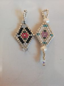 Diamond shaped jewellery covered in small beads