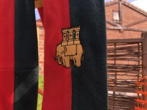 Red and dark green banner with elephant carrying a castle on its back (Symbol of Coventry)