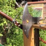 Sharp blade on replica medieval axe