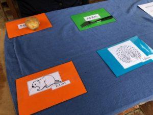 labels for the Tudor table game - potato, beaver, castle, peacock, tomato