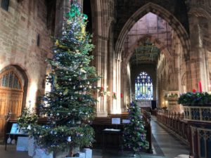 Christmas trees in a large church