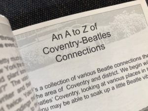 a page of text A- Z Coventry-Beatles connections
