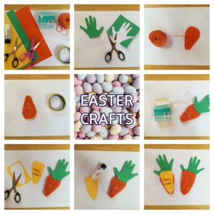 a collage image of step by step how to make the carrot card