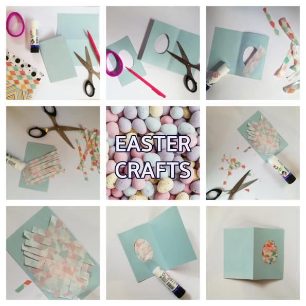 A step by step collage of making the Easter egg card