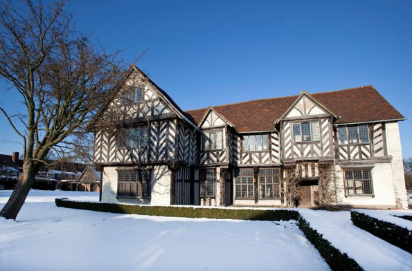 Blakesley Hall in the snow. Photo: Birmingham Museums.