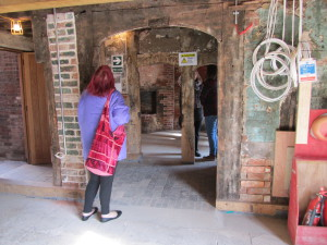 Visitors look inside the medieval hall house at 32 & 33 Far Gosford Street, still partially a building site