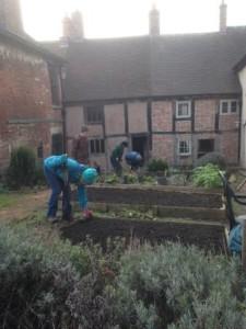 People digging and raking
