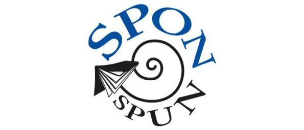 Spon Spun text - a swirl with an upturned book