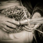 Hand weaving of a skep (traditional bee hive)
