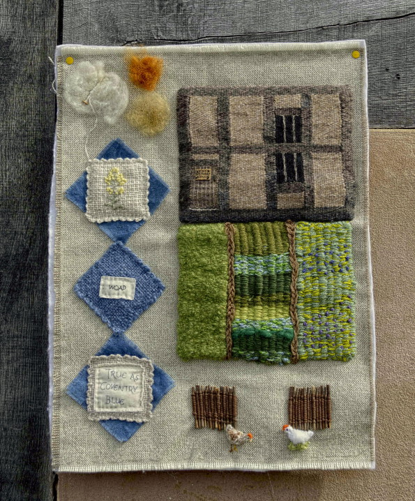 A woven image depicting The weaver's house and garden