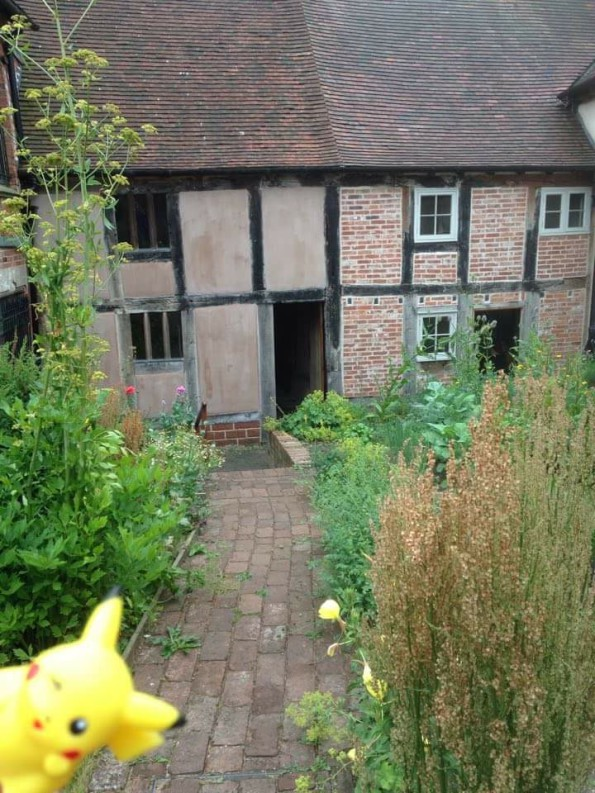A small yellow creature peeps into frame in the medieval garden