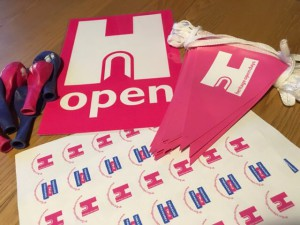 Heritage Open Days stickers, balloons and bunting.