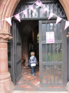 a child entering the church door
