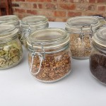 jars with hops and ingredients