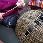 close up of basket weaving