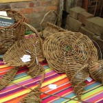 several woven baskets