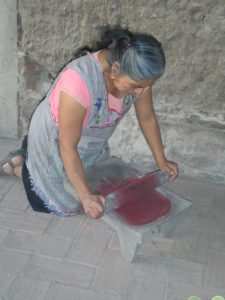 A woman uses a stone rolling pin to crush cochineal beetles
