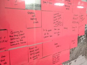 Post Its, one says Going to the Shop Front Festival just been to the Weaver's House
