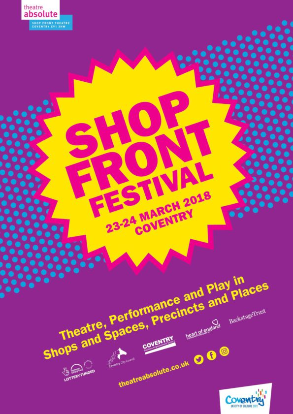 A purple and blue poster with a yellow flash greengrocer style price label in the middle advertising shop front festival