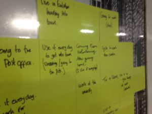 Post its on the wall, not legible