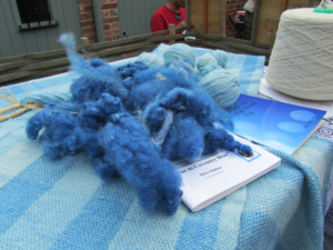 dyed wool and balls of yarn