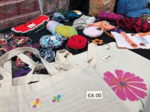 Bags, pin cushions and decorative items made by the weavers' workshop