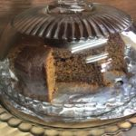 Ginger cake under glass dome