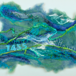 Textile art in blues, like rushing water, text '1455'