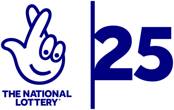 national lottery 25 logo - crossed fingers icon and 25