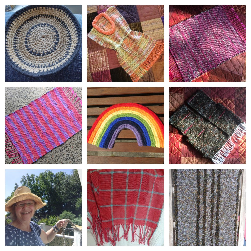 grey & blue woven basket,  sunset tones tunic, red and purple rug, rainbow, brown waistcoat, lady weaving outside, red tartan shawl, grey shawl